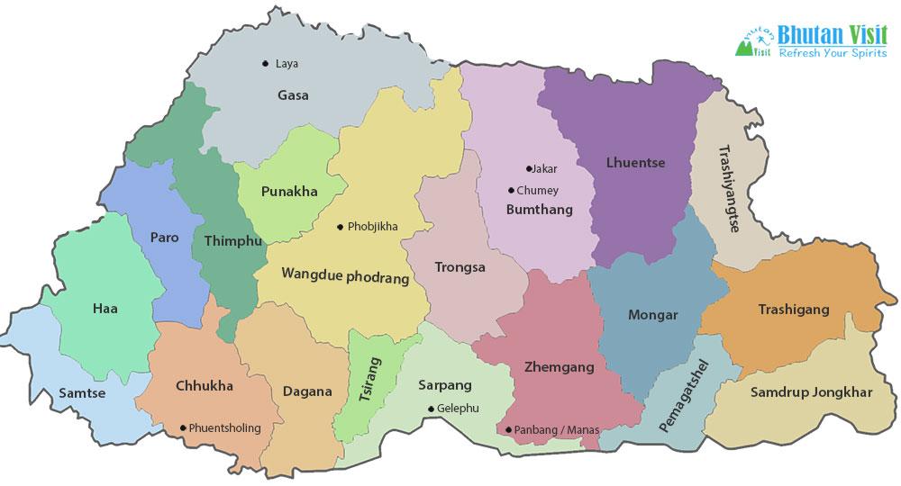 Map Of Bhutan - Bhutan map